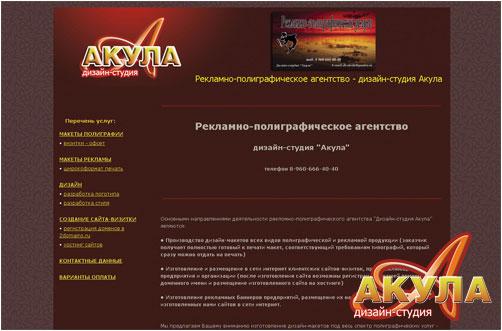Собственный сайт - дизайн-студия Акула